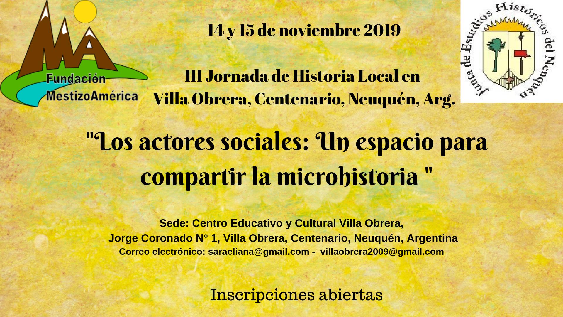 14 y 15 de noviembre 2019 III Jornada de Historia Local en Villa Obrera, Centenario, Neuquén, Argentina.png